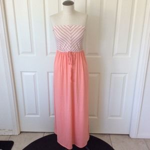 Forever 21 Small Peach Pink Strapless Maxi Dress